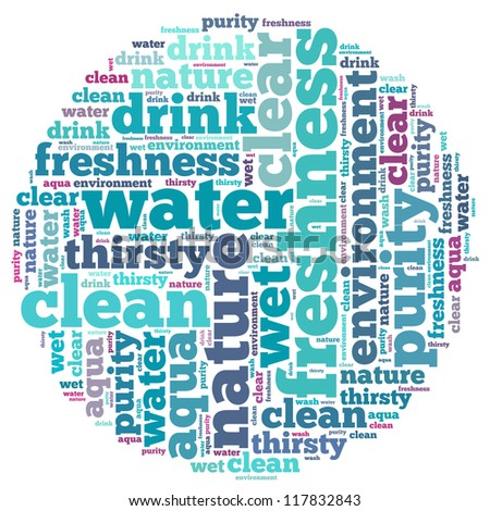 Water info-text graphics and arrangement concept on white background (word cloud) - stock photo