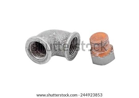 Water inlet pipe fitting, isolated on white background - stock photo