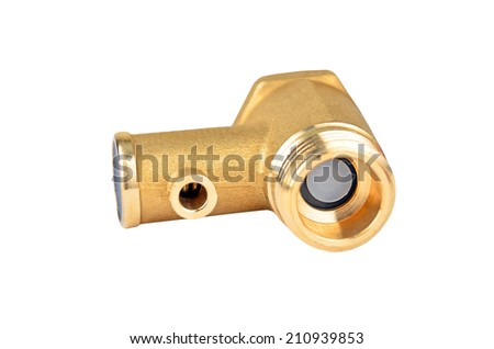 Water inlet pipe valve, isolated on white background - stock photo