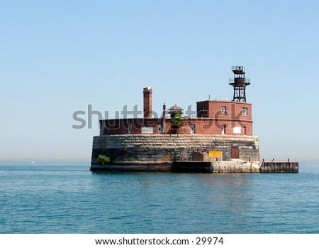 water intake island in Lake Michigan - stock photo