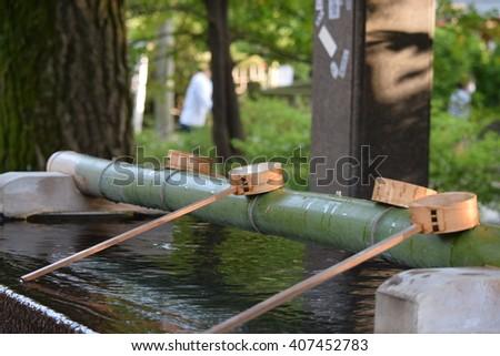 water japan bamboo - stock photo