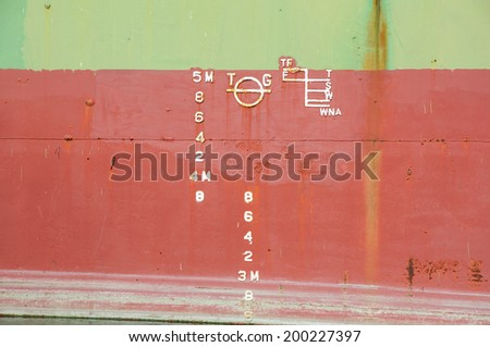 water level line of large ships - stock photo