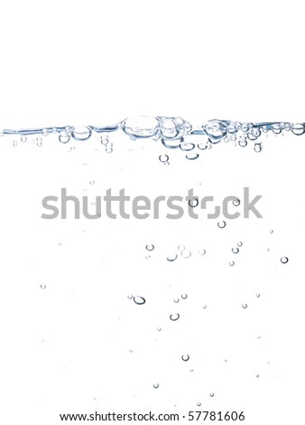 Water line with bubbles isolated on pure white background - stock photo