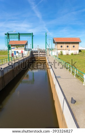 Water management Lemster sluice in Friesland Holland europe - stock photo
