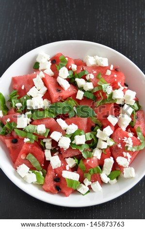 Water Melon Salad  - stock photo