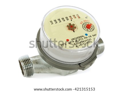 Water meter for domestic water on white background - stock photo