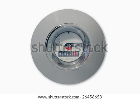 Water Meter Isolated on White for Easy Cutout - stock photo