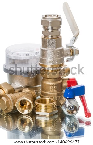 Water meters and plumbing parts  isolated on white background - stock photo