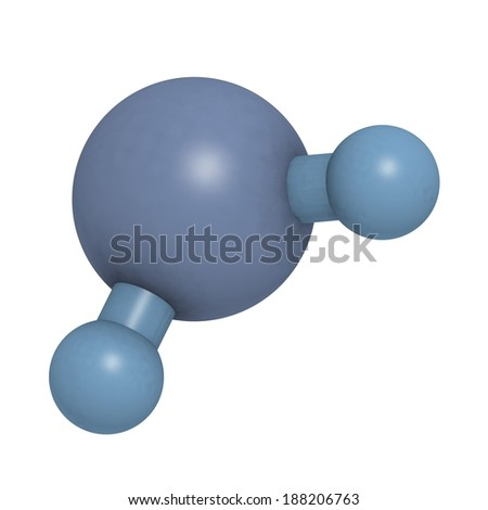 Water molecule, chemical structure. Atoms are represented as blue-shaded spheres. - stock photo