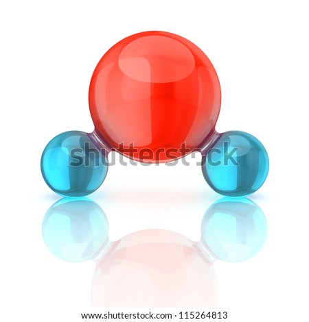 water molecule 3d illustration isolated on white - stock photo