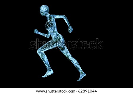 water muscle woman 3d render concept image isolated on black - stock photo