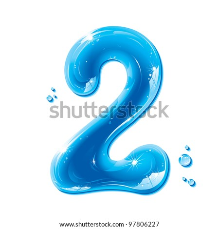 Water Numbers - Number Two Liquid Number Gel Series on white background - raster version - stock photo