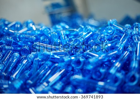 Water plastic bottling plant concept - stock photo
