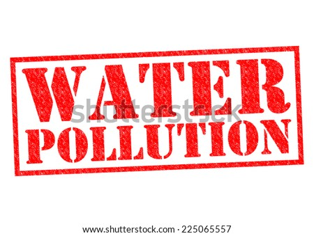 WATER POLLUTION red Rubber Stamp over a white background. - stock photo