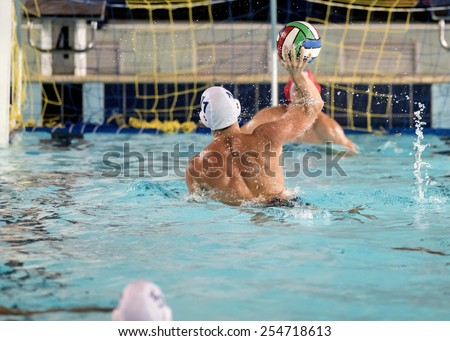water polo players on swimming pool  - stock photo