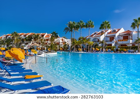 Water pool at Tenerife island - vacation background - stock photo