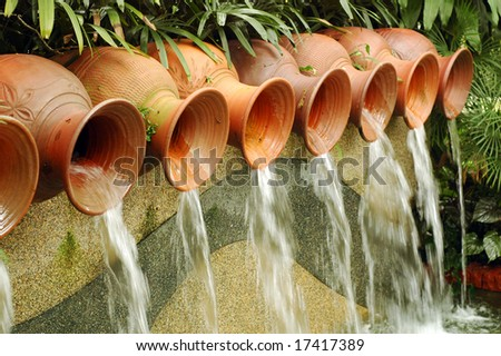 Water Pots Fountain - stock photo