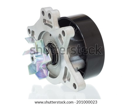 water pump engine cooling fan on a white background - stock photo