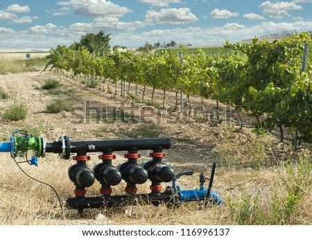 Water pumps for irrigation of vineyards - stock photo