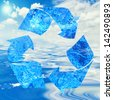 Water recycling concept with symbol and ocean - stock photo