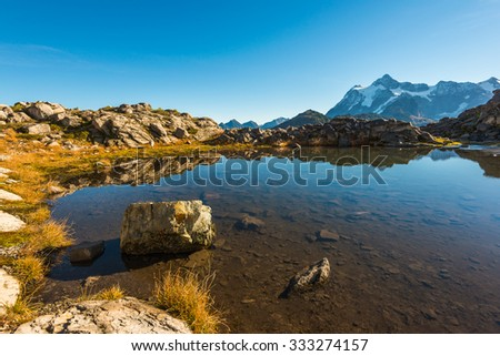 water refection on mountain,view in Artist point hiking area,scenic view in Mt. Baker Snoqualmie National Forest Park,Washington,USA. - stock photo