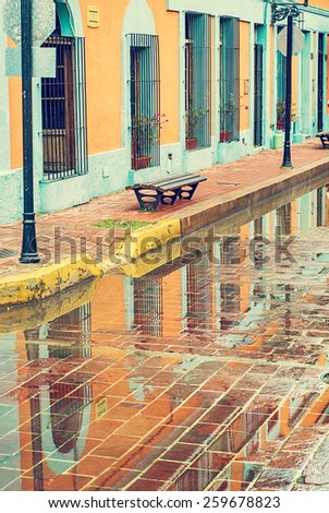Water reflection of a historic district - stock photo