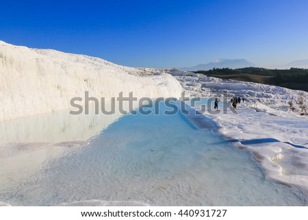 Water Reflection of Natural Travertine, Whtie Mountain, at Pamukkale, Turkey. Pamukkale is also called Cotton Castle and UNESCO world heritage site. - stock photo