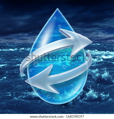 Water sanitation and recycling H2o concept with a water droplet encircled with two arrows on an ocean or body of water with waves as a metaphor for clean purified drinking without contamination. - stock photo