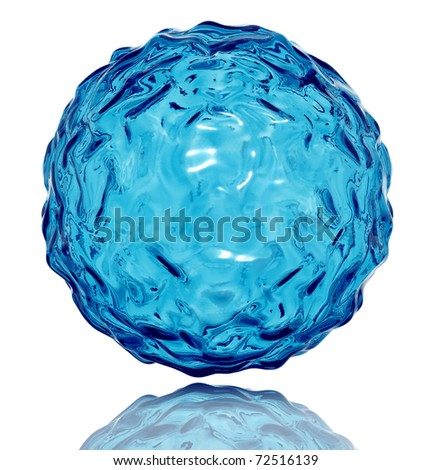 Water sphere with wavy surface. Life symbol. 3d - stock photo