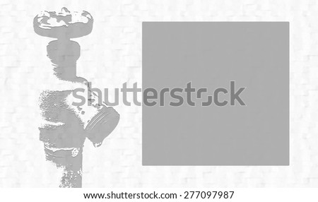 Water spigot on the left with text box on the right. Textured background. In gray. Room for message. - stock photo