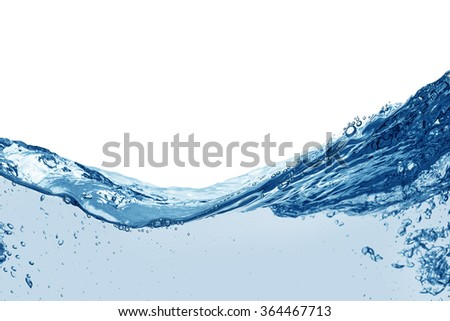 Water splash and air bubbles over white background - stock photo