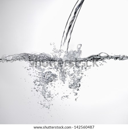 Water splash banner on white background - stock photo