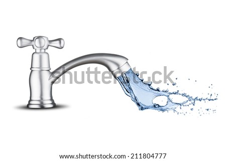 Water Splash from Water Tap - stock photo