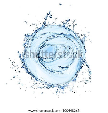 Water splash in twister shape, isolated on white background - stock photo