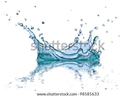 Water splash, isolated on white background - stock photo