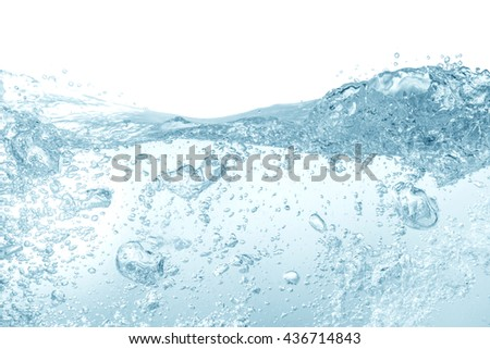 water splash isolated on white background,beautiful splashes a clean water - stock photo