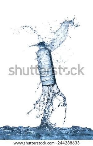 Water Splash On Drinking Water Bottle - stock photo