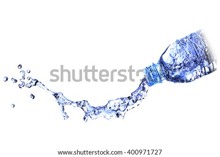 water splash water out of a bottle, be paid out of the water bottle. - stock photo