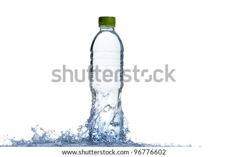 Water splash with bottle and green cap isolated on white background - stock photo
