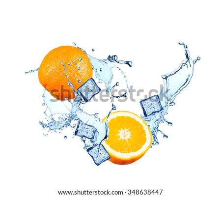 Water splash with fruits and ice cube isolated on white backgroud. Fresh orange - stock photo