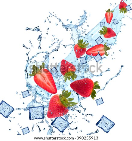 Water splash with fruits and ice cube isolated on white backgroud. Fresh strawberry - stock photo