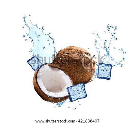 Water splash with fruits isolated on white backgroud. Fresh coconut - stock photo