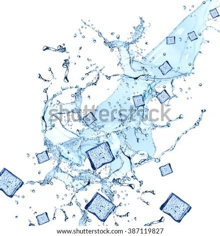 Water splash with ice cube isolated on white backgroud. Fresh  - stock photo