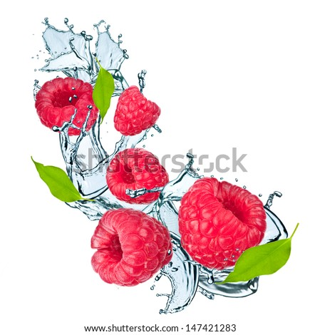 Water splash with raspberry and leaf - stock photo