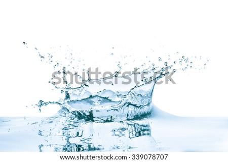 water splash with reflection, isolated - stock photo