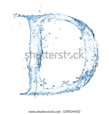"""Water splashes letter """"D"""" isolated on white background - stock photo"""