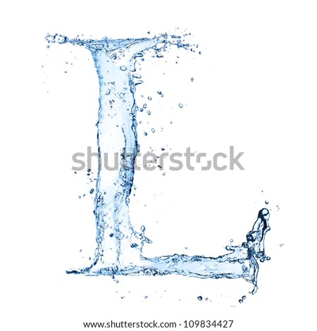 "Water splashes letter ""L"" isolated on white background - stock photo"