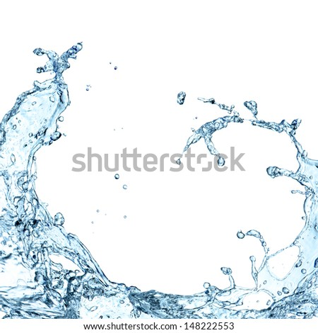 Water splashes on white background - stock photo