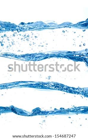 Water splashes set isolated on white  - stock photo