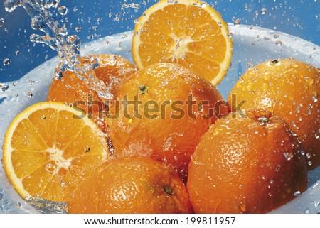 Water splashing on fresh oranges in strainer - stock photo